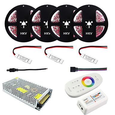 abordables Bandes Lumineuses LED-1set hkv® 20m rgb 5050smd dc 12v bande non étanche à l'eau contrôleur 2.4g rf à distance rgb adaptateur secteur 20a ac 110-240v piles non fournies