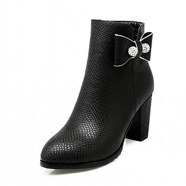 Damen Schuhe PU Kunstleder Winter Modische Stiefel Neuheit Komfort Stiefel Runde Zehe Booties / Stiefeletten Schleife für Party &