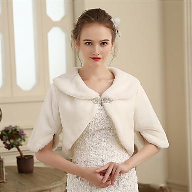 Faux Fur Wedding / Party / Evening Women's Wrap With Rhinestone / Fur Shrugs