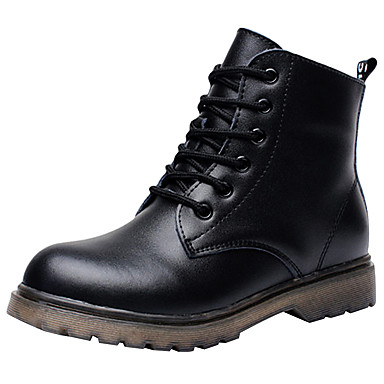 preiswerte Schuhe für Kinder-Jungen Leder Stiefel Kleine Kinder (4-7 Jahre) / Große Kinder (ab 7 Jahren) Komfort / Modische Stiefel / Springerstiefel Schnürsenkel Schwarz Winter / Booties / Stiefeletten / EU37