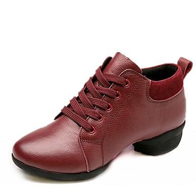 baratos Shall We® Sapatos de Dança-Mulheres Pele Napa Tênis de Dança Têni Salto Baixo Preto / Vermelho
