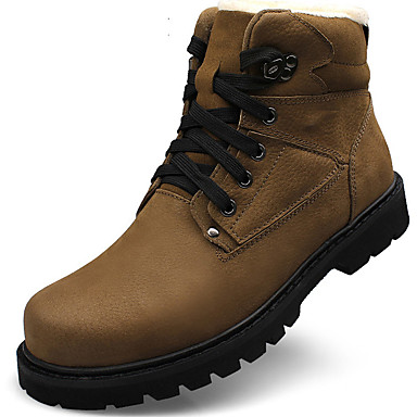 Men's Snow Boots Leather Fall / Winter Vintage Boots Booties / Ankle Boots Black / Khaki / Outdoor / Combat Boots