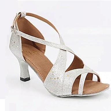 Női Latin cipők Glitter Glitter Személyre szabott sarok Személyre szabható Dance Shoes Ezüst / Otthoni / Bőr