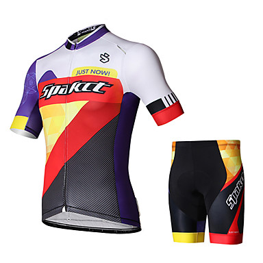 SPAKCT Cycling Jersey with Shorts Men's Men Short Sleeves Bike Shorts Jersey Clothing Suits Cycling Anti-UV Reflective High Breathability