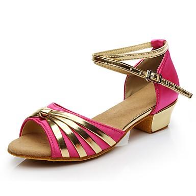 בגדי ריקוד נשים נעליים לטיניות חומרים בהתאמה אישית ספורט ושטח / עקבים עקב נמוך מותאם אישית נעלי ריקוד פוקסיה