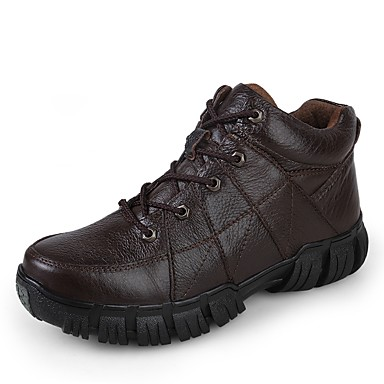 Men's Combat Boots Faux Leather / Cowhide Fall / Winter Comfort Sneakers Black / Brown