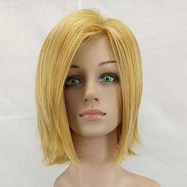 Synthetic Wig Women's Straight Blonde Bob Synthetic Hair Middle Part Blonde Wig Medium Length Capless Light golden hairjoy