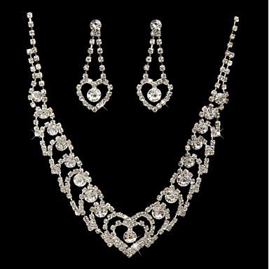 Women's Rhinestone Jewelry Set Drop Earrings, Necklace - Silver