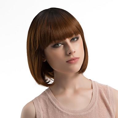 Szintetikus parókák Egyenes Bob frizura / Bretonnal Szintetikus haj Ombre haj Barna Paróka Női Közepes Sapka nélküli Sötétbarna / Dark Auburn