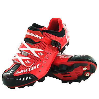 SIDEBIKE Adulto Calzado para Mountain Bike Fibra de Carbono Amortización Ciclismo Rojo negro Hombre / Malla respirante / Gancho y Vuelta