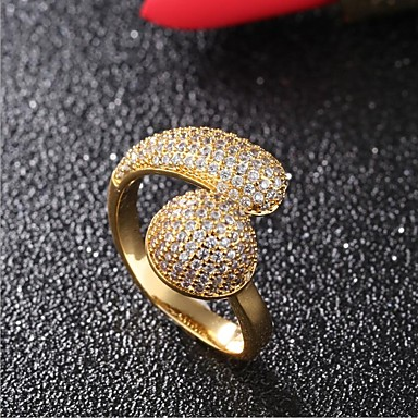 Women's Cubic Zirconia, Rhinestone Engagement Ring - Gold Plated Gold