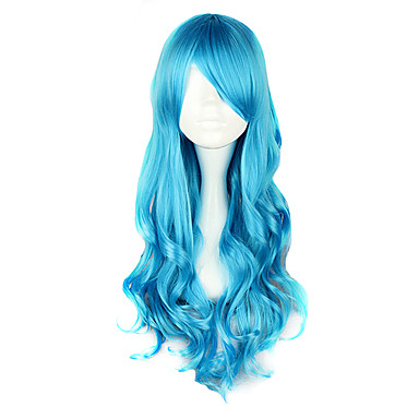 Femme 28 pouce Fibre résistante à la chaleur Bleu Manga Perruques de Cosplay / Lolita Classique / Traditionnelle