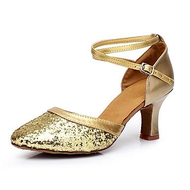 Damskie Taniec nowoczesny Dżety Materiał do wyboru Na obcasie Domowy Obcas do wyboru Gold Silver Czerwony 2