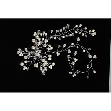 Tulle Crystal Imitation Pearl Headbands with Feather 1 Wedding Special Occasion Event/Party Headpiece