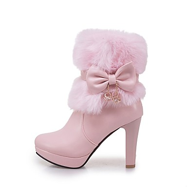 Women's Shoes Leatherette Winter Fashion Boots Boots Chunky Heel Round Toe Booties / Ankle Boots Bowknot White / Black / Pink