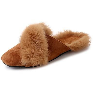 Women's Shoes PU Winter Comfort Fluff Lining Slippers & Flip-Flops Square Toe Mid-Calf Boots for Casual Black Yellow Khaki