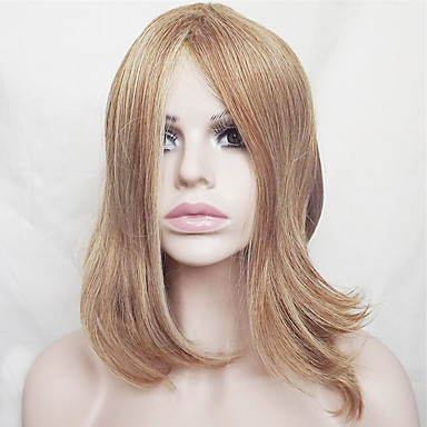 Synthetic Wig Straight Blonde Bob Haircut / With Bangs Synthetic Hair Natural Hairline Blonde Wig Women's Short / Medium Length Capless