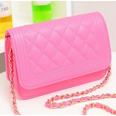 Women's Bags PU(Polyurethane) Crossbody Bag Zipper White / Black / Fuchsia