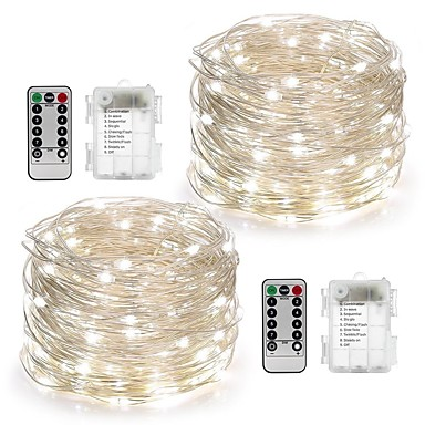 10m String Lights 100 LEDs Warm White / White / Multi Color Remote Control / RC / Dimmable / Waterproof Battery / IP65 / Color-Changing
