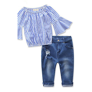 Girls' Striped Clothing Set, Rayon Spring Fall 3/4 Length Sleeves Stripes Blue
