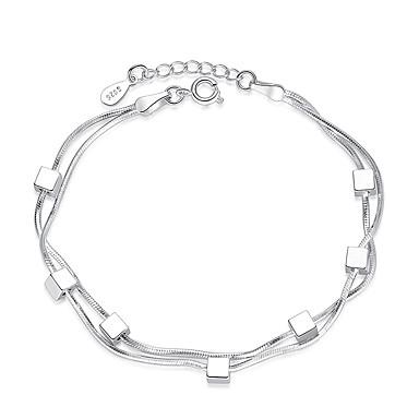 levne Dámské šperky-Dámské Řetězové & Ploché Náramky Silný řetězec dámy Stříbro Náramek šperky Stříbrná Pro Párty Denní