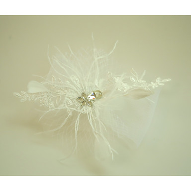Tulle Lace Feather Fascinators Flowers with Feather 1 Wedding Special Occasion Event/Party Headpiece