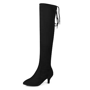 Lacet 06294296 Bottes Hiver Nubuck Aiguille Chaussures Spandex Automne Soirée à Cuissarde pour Cuir Femme pointu amp; Talon Mode la Bottes Bout YwBafRxSq7