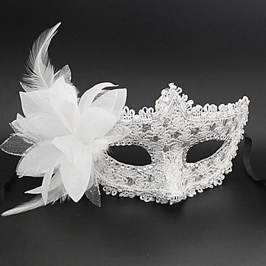 Carnaval Mască Unisex Halloween Carnaval An Nou Festival / Sărbătoare Costume de Halloween Alb Negru Argintiu Roz Mată Dantelă