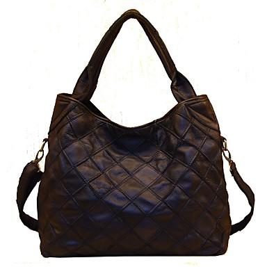 Women's Bags Cowhide Shoulder Bag Tiered Black