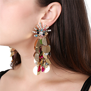 Women's Drop Earrings / Front Back Earrings / Ear Jacket - Rhinestone Peacock Oversized Black / White / Rainbow For Party / Club