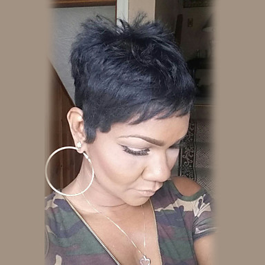 Emberi hajszelet nélküli parókák Emberi haj Egyenes Rövid Géppel készített Paróka Női