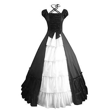 O piesă/Rochii Lolita dulce Inspirație Vintage Cosplay Rochii Lolita Negru Vintage Beretă Manșon scurt Lung Rochie Pentru Satin Bumbac