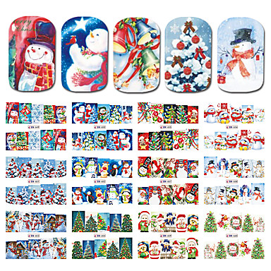 12designs/set Stickers Water Transfer Sticker nail art Manicure Pedicure Smooth Sticker / Christmas Cute / Nail Decals Daily / Practise / Daily Wear