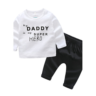 Dziecko Dla chłopców Wypoczynek Codzienny Inne Długi rękaw Regularny Bawełna Komplet odzieży Biały