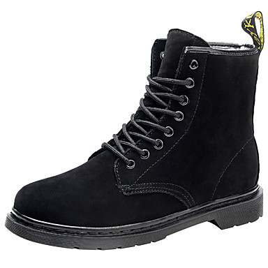Women's Shoes Leather / Cowhide Fall / Winter Fashion Boots / Bootie / Combat Boots Boots Round Toe / Closed Toe Booties / Ankle Boots