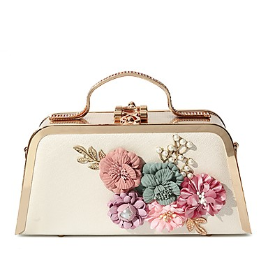 Women's Bags PU Evening Bag Pearls / Flower Black / Blushing Pink / Purple