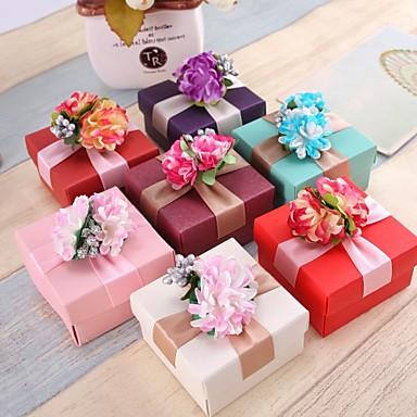Kocka alakú/köb Gyöngy-papír Favor Holder val vel Virág Ajándék dobozok