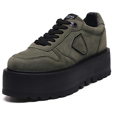 Women's Shoes PU Spring Fall Comfort Sneakers Round Toe Lace-up for Casual Black Brown Army Green