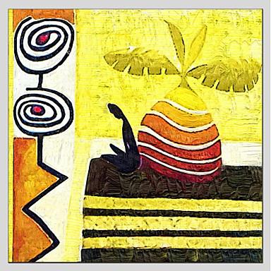 Hang festett olajfestmény Kézzel festett - Absztrakt Absztrakt Rusztikus Realizmus Vászon