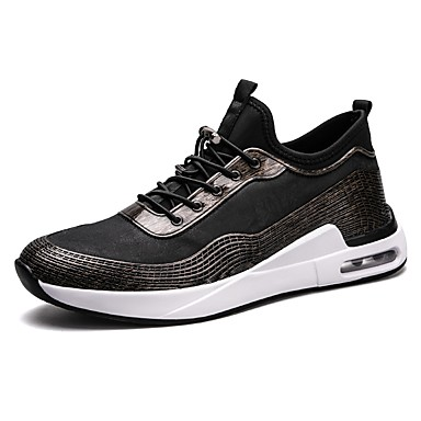 Men's Leatherette Spring / Fall Comfort Sneakers Black / Gold / Black / Silver