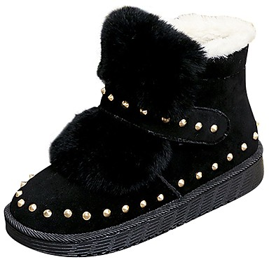 Damskie Obuwie PU Zima Comfort Śniegowce Buciki Okrągły Toe Kozaczki / kozaki do kostki na Casual Na wolnym powietrzu Black Gray