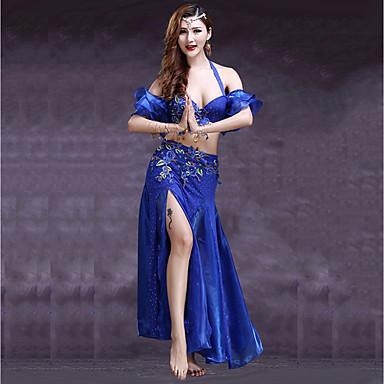 Taniec brzucha Outfits Damskie Wydajność Spandeks Rozporek Kwiat Bez rękawów Wypada Spódnice Biustonosz Pas