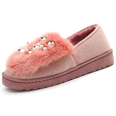 Damskie Obuwie PU Zima Comfort Mokasyny i pantofle Okrągły Toe Sztuczna perła Black / Gray / Różowy