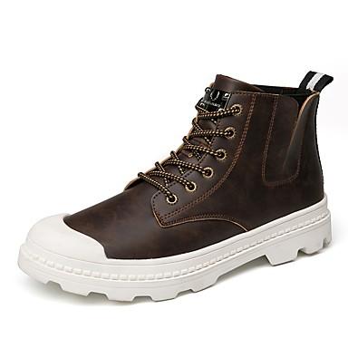 Herren Schuhe PU Frühling Herbst Komfort Stiefel Schnürsenkel Für Normal Schwarz Braun
