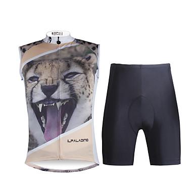 ILPALADINO Męskie Bez rękawów Koszulka z szortami na rower - Grey Rower Zestawy odzieży, Quick Dry, 3D PAD