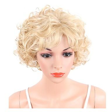 Peruki syntetyczne Damskie Curly Blond Fryzura Bob / Fryzura Pixie Włosie synetyczne Balejaż / refleksy / Część boczna Blond Peruka Krótkie / Długie Bez czepka Blond
