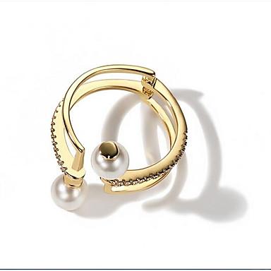 Damskie mankiet Pierścień 1 Gold Imitacja pereł Stop Circle Shape Modny Koreański Inny Codzienny Biżuteria kostiumowa