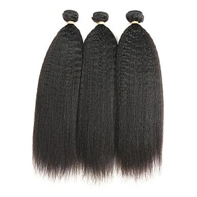 Włosy indyjskie Włosy remy Kinky Straight Ludzkie włosy wyplata 3szt Człowieka splotów włosów