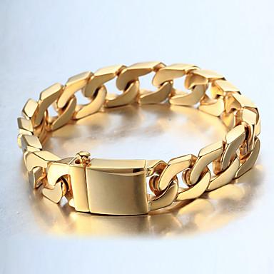 Herrn Dicke Kette / Panzerkette Armband - 18K vergoldet, Edelstahl Modisch, Hip-Hop Armbänder Gold / Silber Für Normal / Freizeitskleidung