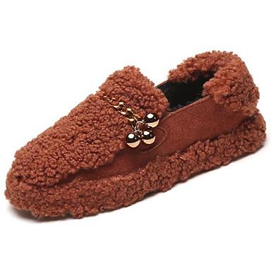 Damskie Obuwie Guma Zima Comfort Mokasyny i pantofle Okrągły Toe na Na wolnym powietrzu Black Brown Green